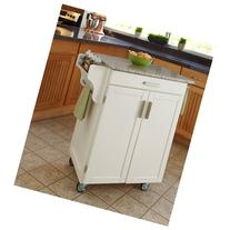 Home Styles Cuisine Kitchen Cart, White with Salt & Pepper
