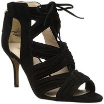 Nine West Women's Galaxy Suede Gladiator Sandal, Black, 6.5