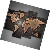 Firstwallart General World Map Black Background Wall Art