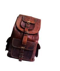"18"" Genuine Leather Retro Rucksack Backpack College Bag,"