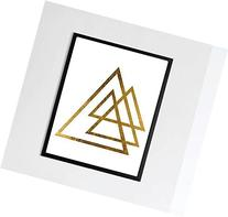 Geometric Triangles Real Gold Foil Abstract Foil Typography