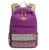 Hitop Geometry Dot Casual Canvas Backpack Bag, Fashion Cute