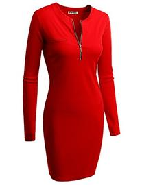 Doublju Fitted Ribbed Knit Zipper Front Mini Dress  RED