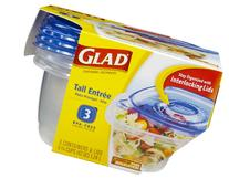GladWare Tall Entrée Food Storage Containers, 42 Ounces, 3