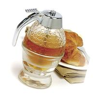 Glass 1 Cup Bee Hive Honey Syrup Dispenser Jar with Stand