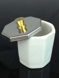 Glass Dappen Dish with Stainless Metal Lid