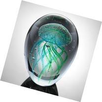 Art Glass Teal Jellyfish Glow in the Dark