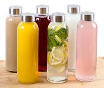 Estilo Glass Water Bottles 16 Oz, Stainless Steel Cap - Case
