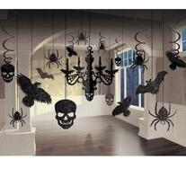 Spooky Glitter Paper Chandelier, Ravens, Skulls, Spiders,