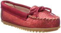Minnetonka Glitter Moc,Red,4 M US Big Kid