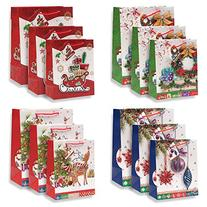12 Pack Beautiful Glitter Pop Up Christmas Gift Bags in