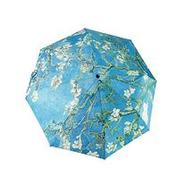 GLODEALS Oil Painting Automatic 3 Folding Parasol Sun