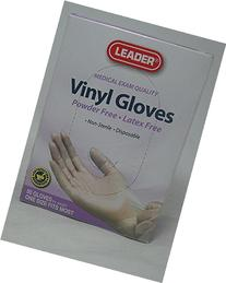 LEADER Gloves Vinyl Powder free Latex free One Size 50 Count