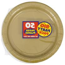 """Big Party Pack Gold Paper Plates 