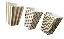 Gold Chevron, Stripe and Polka Dot Paper Popcorn Boxes - 36