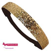 Gold Glitter Sparkly Sports Headbands - Glitter Headband