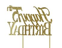 All About Details Gold Happy-75th-birthday Cake Topper