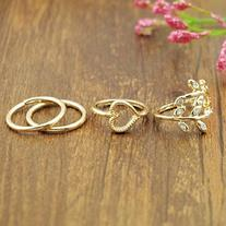 Lookatool Fashion Gold Plated Leaf Heart Joint Knuckle Nail