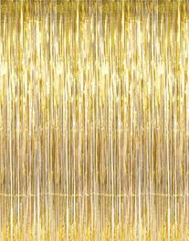 1 X 3' x 8' Gold Tinsel Foil Fringe Door Window Curtain