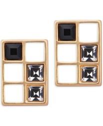 T Tahari Gold-Tone Crystal Grid Stud Earrings