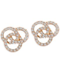 T Tahari Gold-Tone Pave Knot Stud Earrings