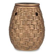Golden Brown Basket Weave Pattern Ceramic Stoneware Electric