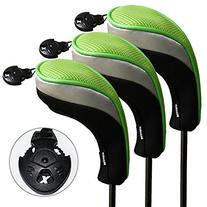 3 Pack Andux Golf Hybrid Club Head Covers Interchangeable No