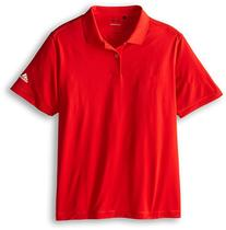 adidas Golf Boy's Solid Jersey Polo, Red/White, Medium