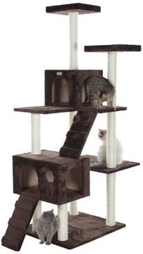GleePet GP78700623 Cat Tree with Ramp, 70-Inch, Coffee Brown