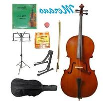 GRACE 1/8 Size Natural Cello with Bag and Bow+Rosin+Extra