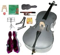 GRACE 4/4 Size SILVER Cello with Hard Case + Soft Carrying