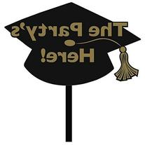 "Amscan Grad Yard Sign in Black, Black/Gold, 11 1/8"" x 15 1/4"