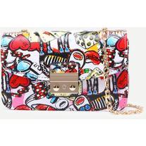 Multicolor Graffiti Print Pushlock Flap Bag