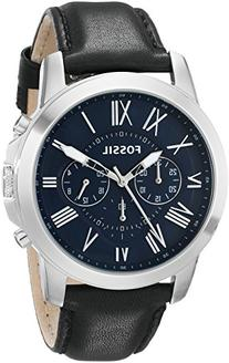 Fossil Grant Chronograph Leather Watch - Black Fs4990