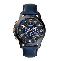 Fossil® Men's Grant Watch In Silvertone With Navy Blue