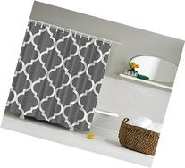 Gray and White Decorative Damask Geometric Shower Curtain