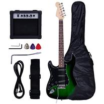 New Full Size Green/Black Electric Guitar+15w AMP+Strap+Cord