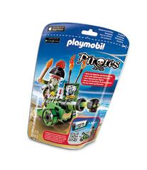 Playmobil Green Interactive Cannon with Pirate Captain-MULTI