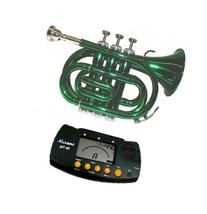 MERANO GREEN LACQUER POCKET TRUMPET WITH CASE + FREE METRO