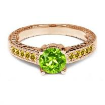 1.10 Ct Round Green Peridot Simulated Citrine 925 Rose Gold