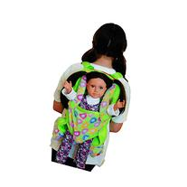 Green Plush Child Sz. Backpack with Built-in Doll Carrier &