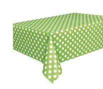 "Polka Dot Plastic Tablecloth, 108"" x 54"", Lime Green"