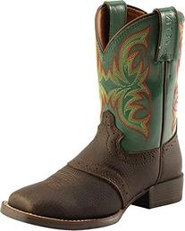 Justin Boys' Green Stampede Cowboy Boot Square Toe Brown 9 D