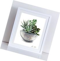 Green Succulent Cactus Arrangement Giclee Print of Original
