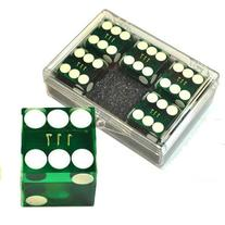 Set of 5 Green 19mm Transparent Casino Dice - Serialized -