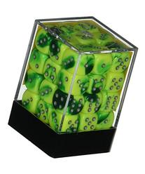 Green Yellow with Silver Gemini Dice D6 12mm Set of 36