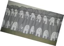 Grey with white Elephant Valance Curtain, Girl or boy Baby