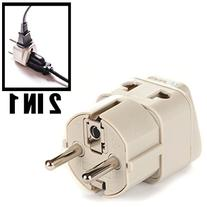 OREI Grounded Universal 2 in 1 Schuko Plug Adapter Type E/F