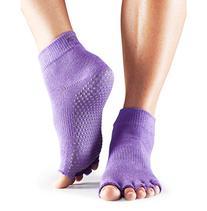 ToeSox Half Toe Yoga/Pilates Toe Socks With Grips, Black,