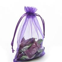 "Halulu 100 Pcs 5x7"" Purple Organza Drawstring Pouches"